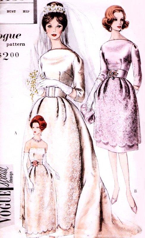 1960 Elegant Brides or Bridesmaid Dress and Jacket Pattern Vogue Special Design 4139 Bell Shape Skirt Wedding Dress Button Back Jacket Stunning Design Bust 31 Vintage Sewing Pattern