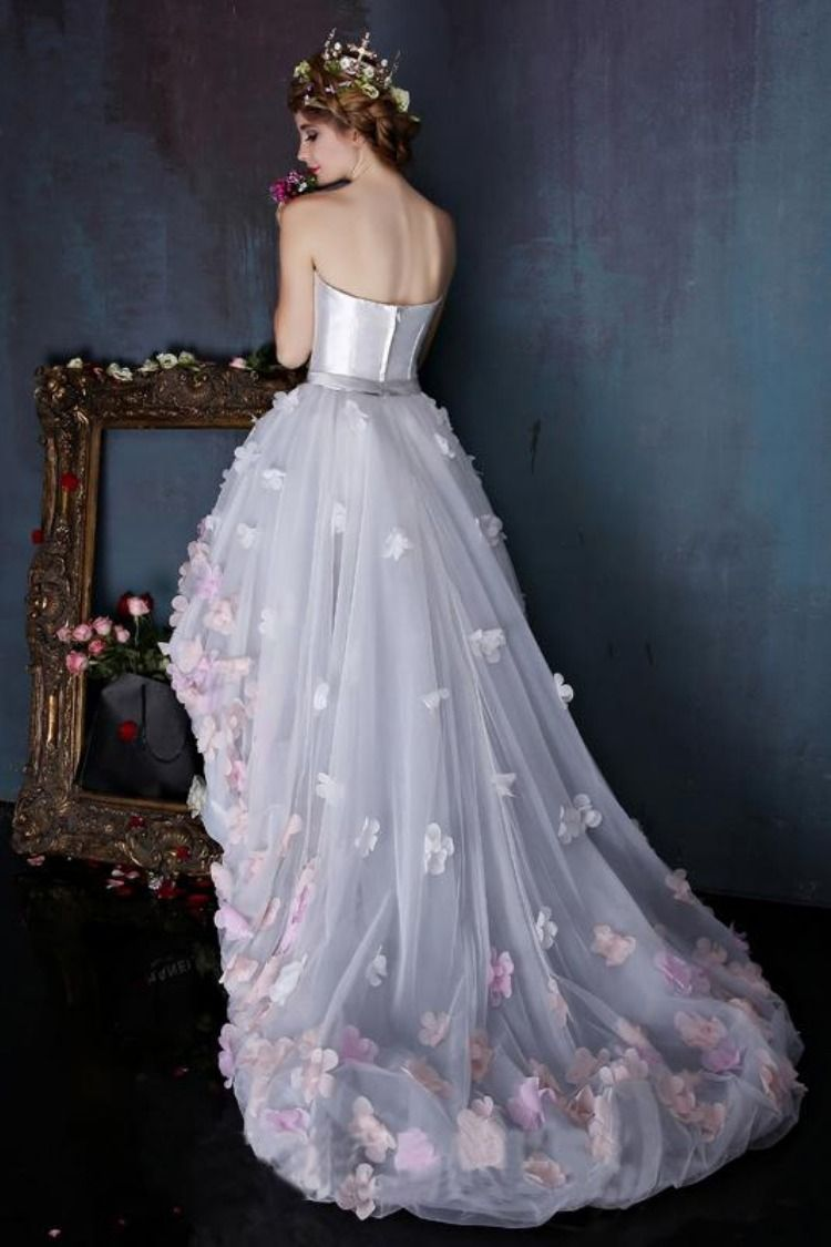 Charming Sweetheart Flowers Strapless Tulle Asymmetry Prom