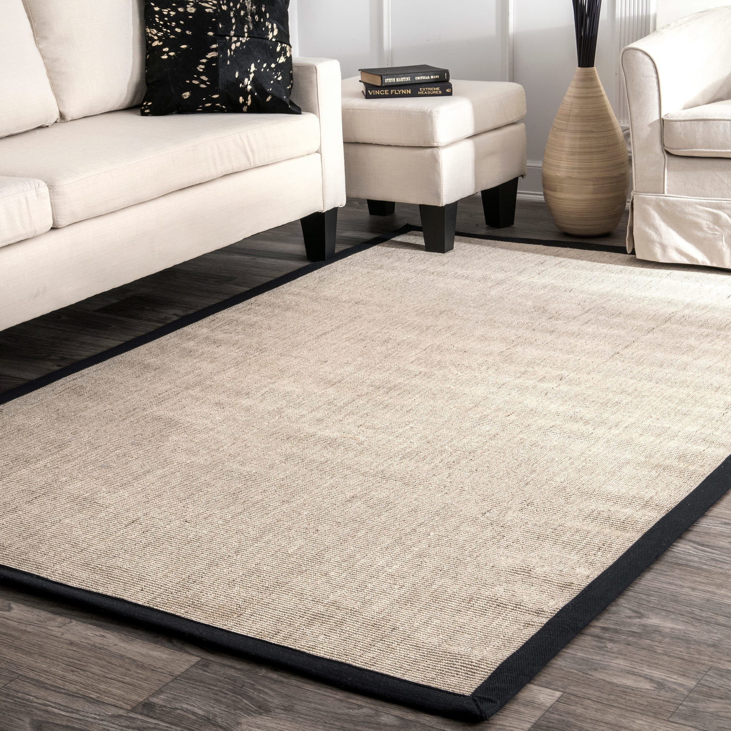 Nuloom Causal Alexa Eco Natural Fiber Solid Black Border Sisal Area Rug 9 X 12 Size