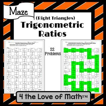 Trigonometric Ratios Right Triangles Maze Math Maze