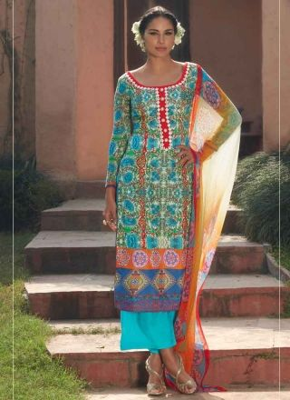 7c4745566e Marvelous Turquoise Neck Embroidery Cotton Silk Pakistani Palazzo Suit  http://www.angelnx