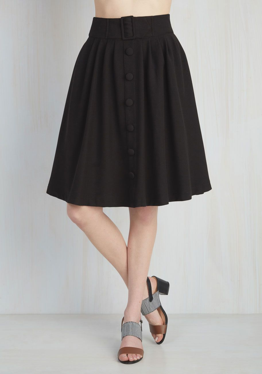 42401bcb67 Intern of Fate Skirt in Black. With a confident strut and clad in this  profesh midi, you leave a fab first impression at the office! #black  #modcloth