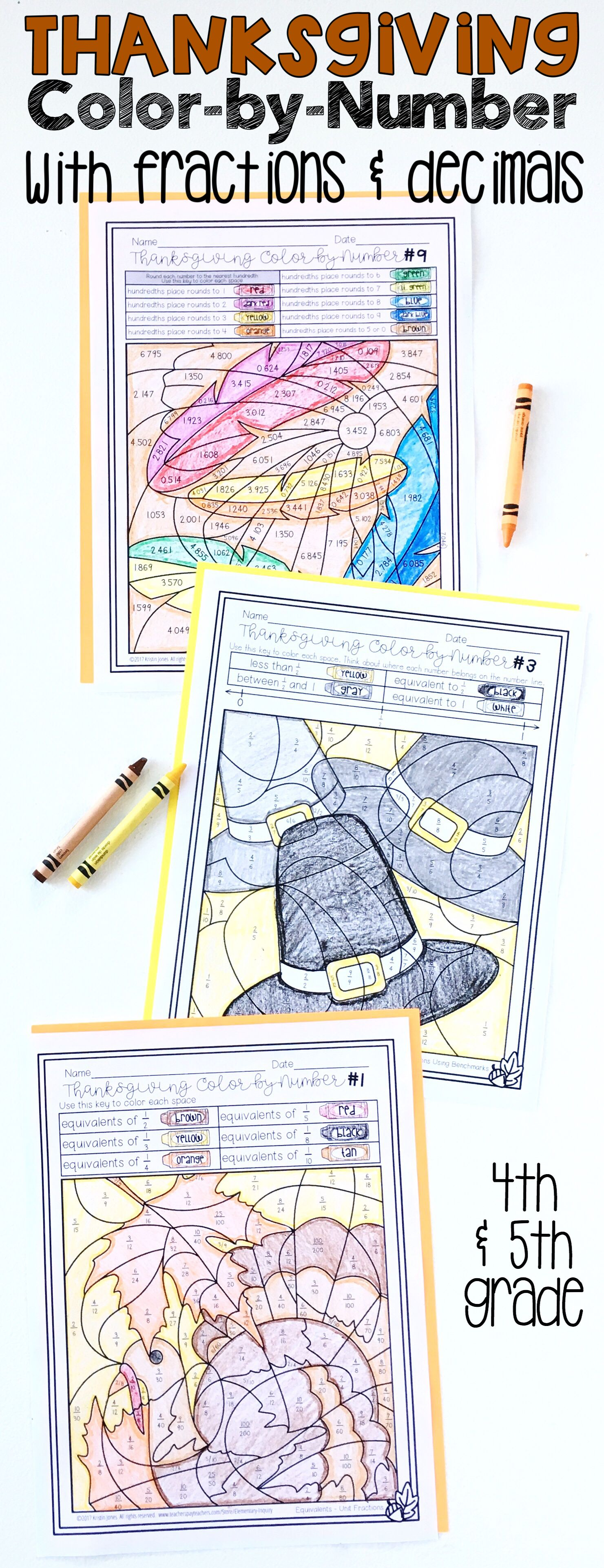 Thanksgiving Math Activity Fractions and Decimals Color by Number ...
