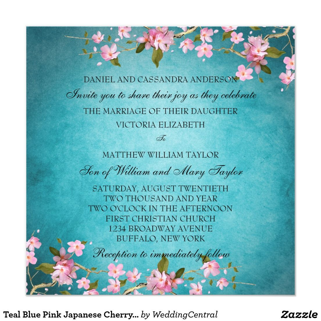 Teal Blue Pink Japanese Cherry Blossoms Wedding Card | Japanese ...