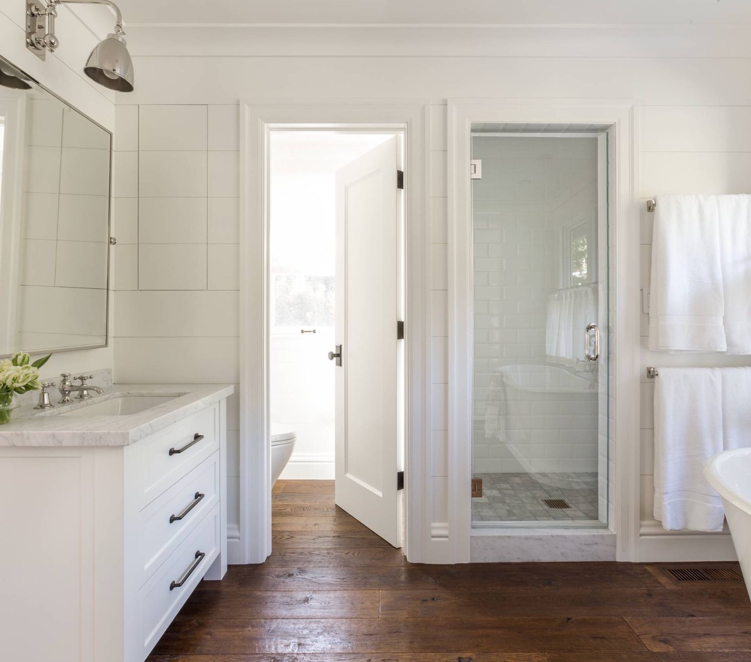 Water Closet Next To Shower Master Bathroom Design Bathroom Design Modern Farmhouse Bathroom