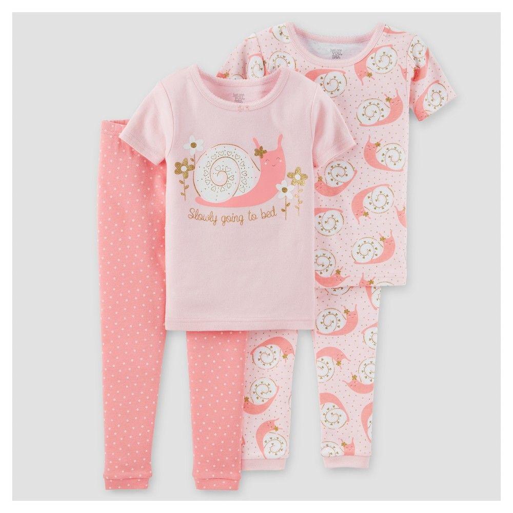 Orange NWT Carter/'s Girls Cotton 3 Piece Flamingos Pajama Set Pink