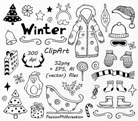 Winter Doodle Clipart HandDrawn Christmas