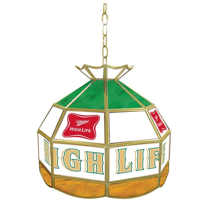 Trademark commerce mhl1600 miller high life stained glass tiffany this hanging bar light is perfect for your themed miller high life bar lights are handcrafted stained glass in a tiffany style and this single bulb hanging aloadofball Choice Image