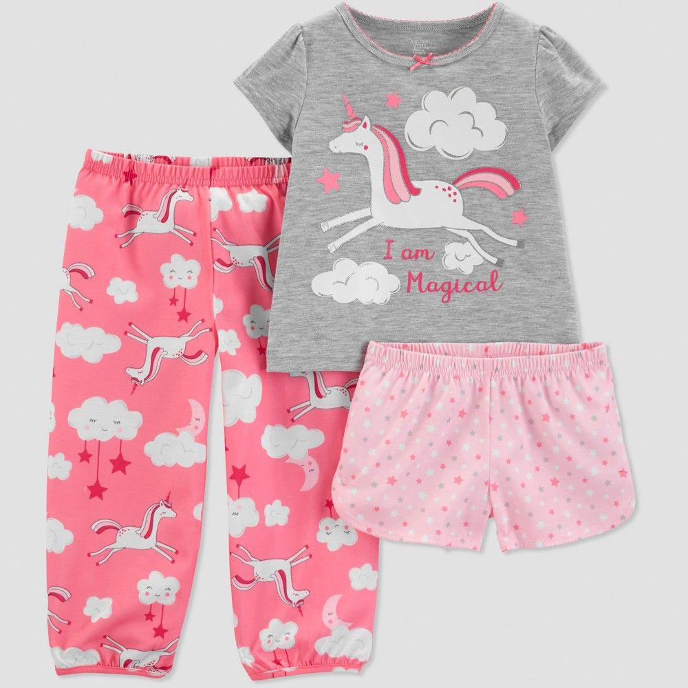 222a20369e Toddler Girls  3pc Unicorn Pajama Set - Just One You made by carter s Gray  2T