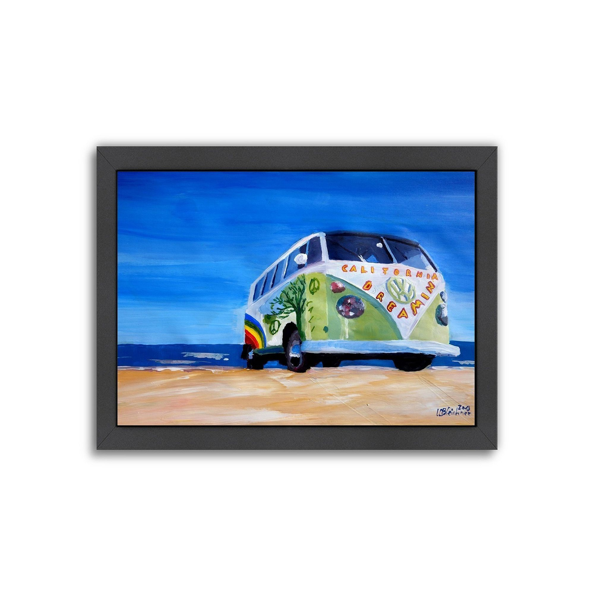 Americanflat the california dreaming surf bus framed wall art