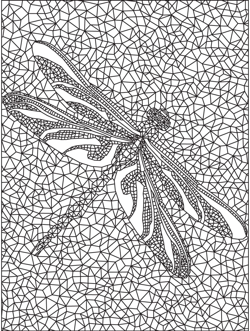 Geometric Dragonfly colouring page