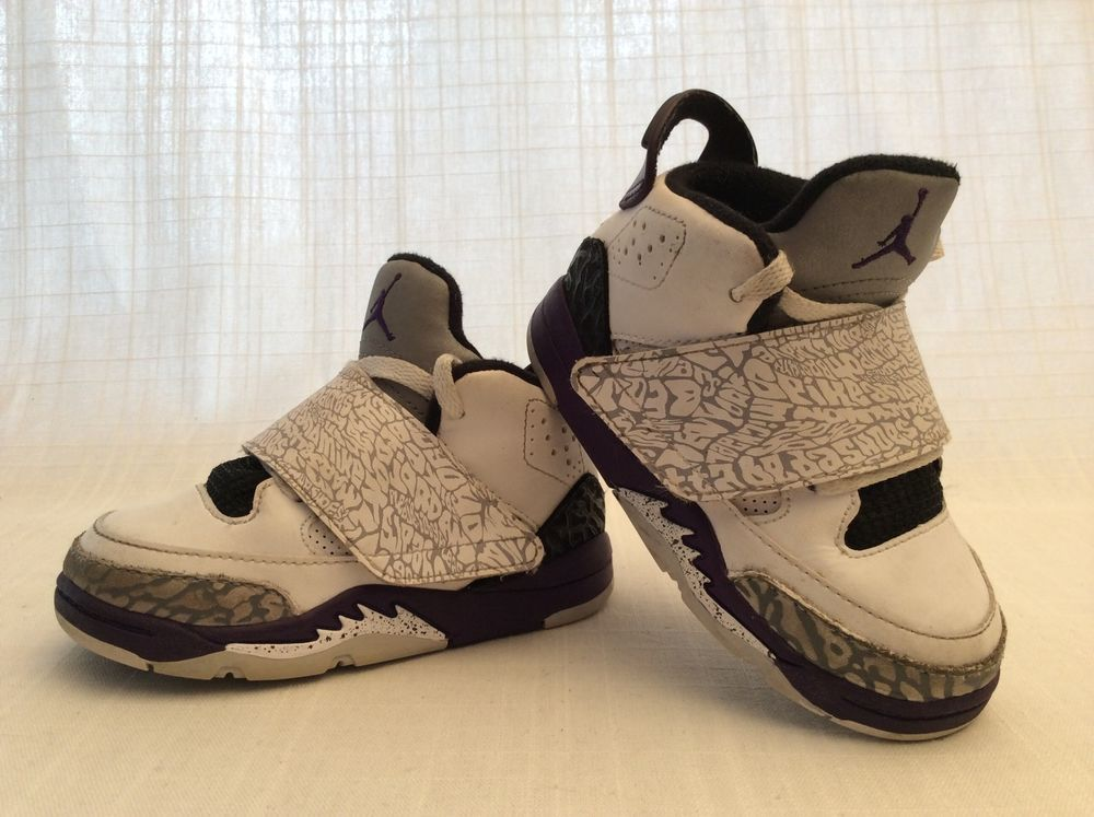 0f1791f555a2a NIKE AIR JORDAN SON OF MARS BASKETBALL SHOES TODDLER SIZE 7C WHITE BLACK  PURPLE  Nike  Athletic