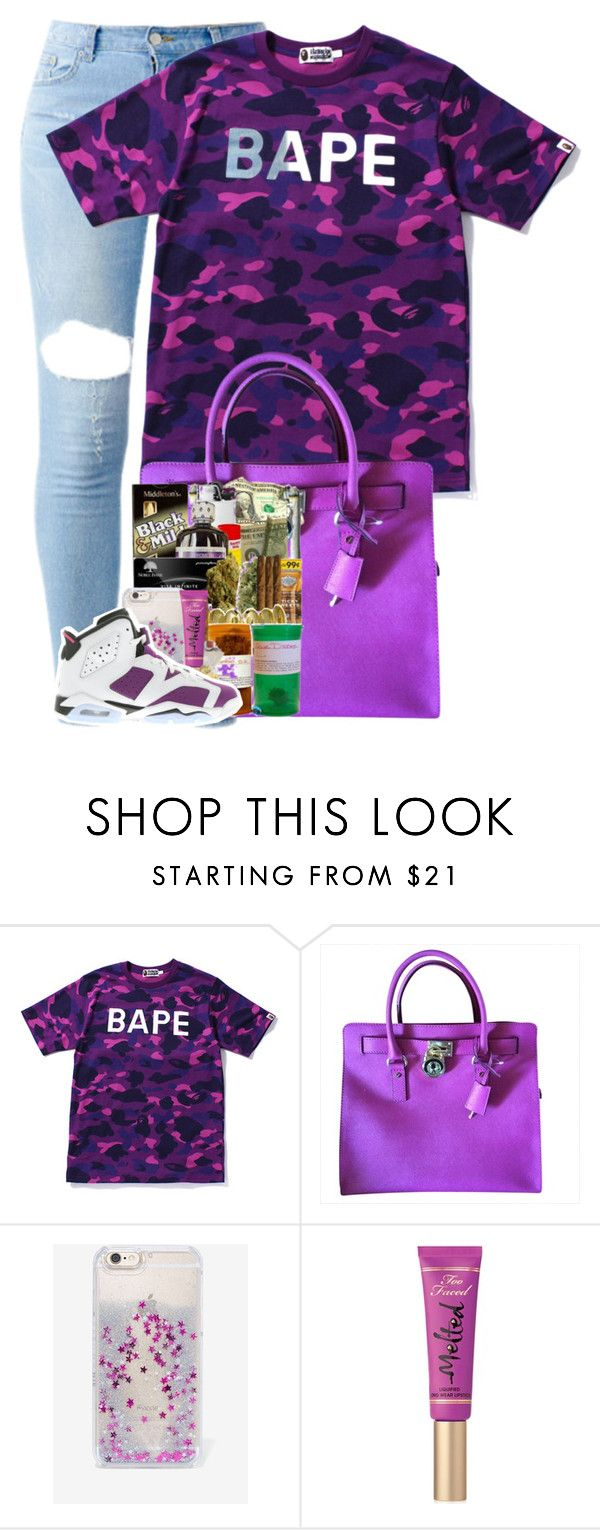 """""""Pur-ple!!"""" by fashion123123 ❤ liked on Polyvore featuring A BATHING APE, Michael Kors, Skinnydip, Too Faced Cosmetics and NIKE"""