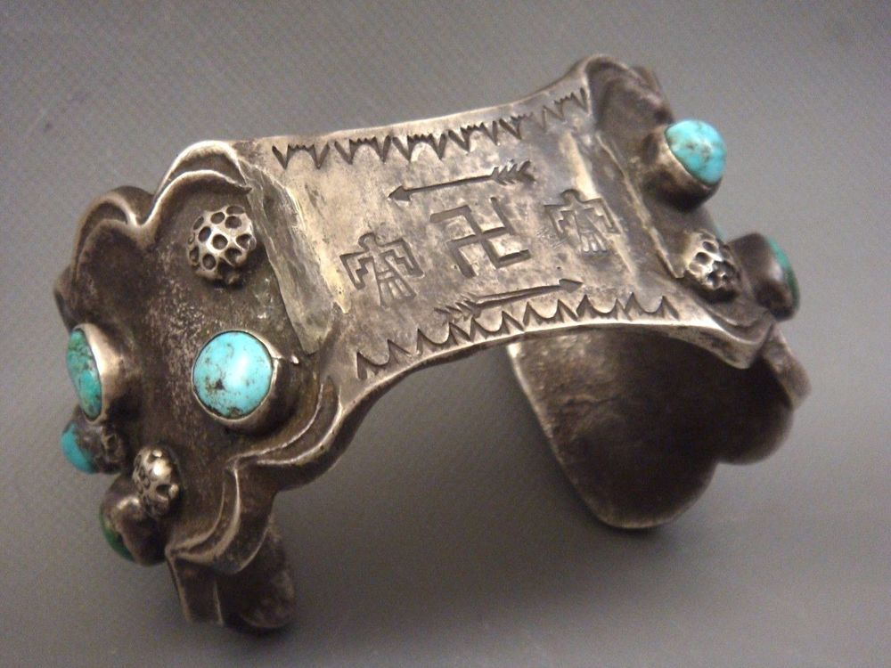 RARE Antique 1910's LARGE Navajo COIN SILVER INGOT & Turquoise WHIRLING LOG Cuff