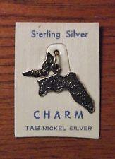 Vintage Florida State Charm – Sterling Silver – Original card!