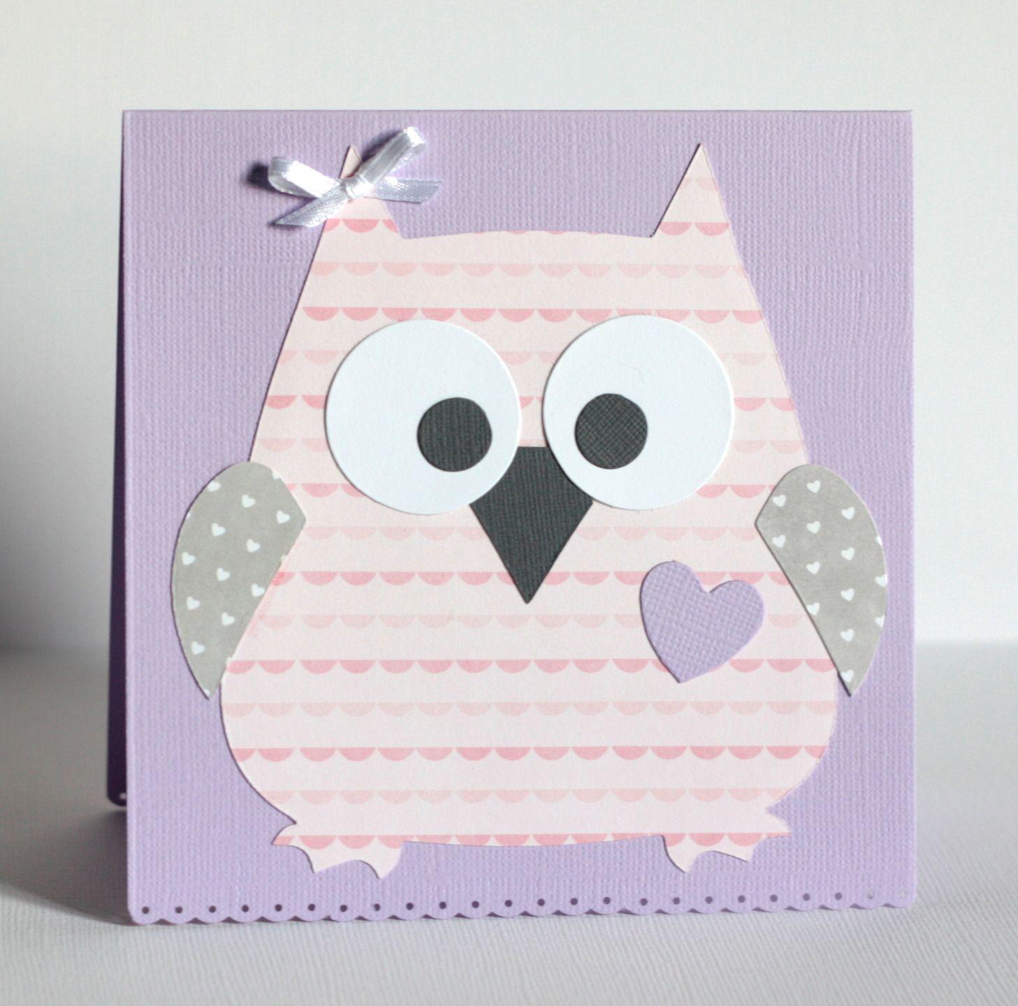 Carte hibou pour f licitations naissance ou anniversaire petite fille parme gris rose - Carte anniversaire petite fille ...
