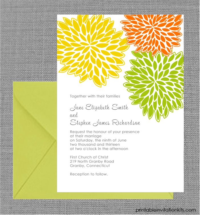 Free Pdf Download  Petal Clusters Spring Wedding Invitation