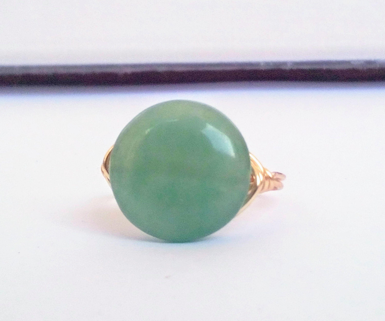 Wire Wrapped Green Aventurine Gemstone Ring Crystal Ring Wire Wrapped Crystal For Women For Healing Wire Wrap Rings Aventurine Ring