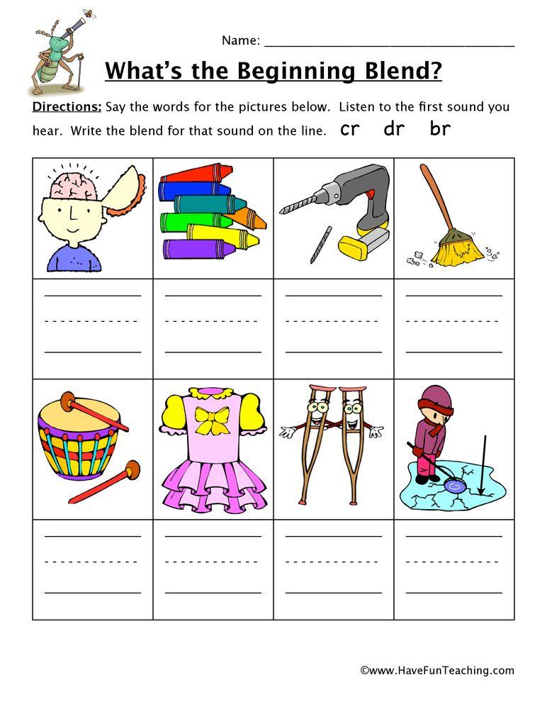 Beginning Sounds Worksheet - CR, DR, BR   Pinterest   Worksheets ...