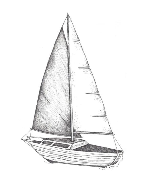 Sailboat Pen Ink Drawing Ocean Sea Boat By Victoriabreedenart