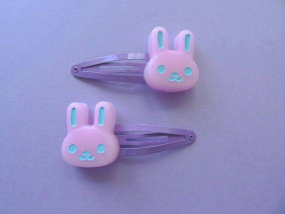 Pink Bunny Hair Clips Kawaii Pastel Goth Gothic By Tokyobunni Accesorios Kawaii Accesorios Para El Cabello Joyeria De Ceramica