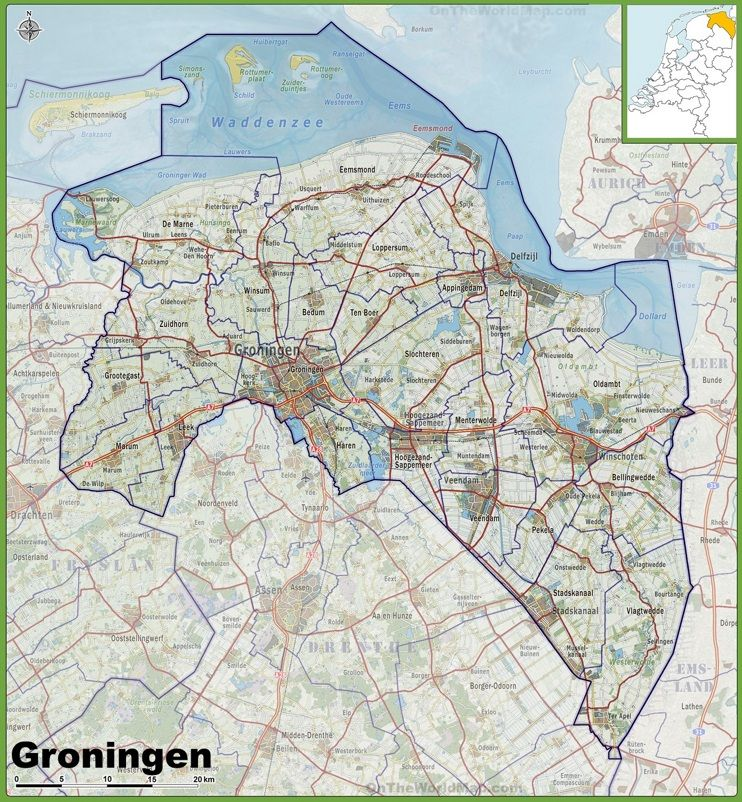 Map of Groningen province with cities and towns Maps Pinterest