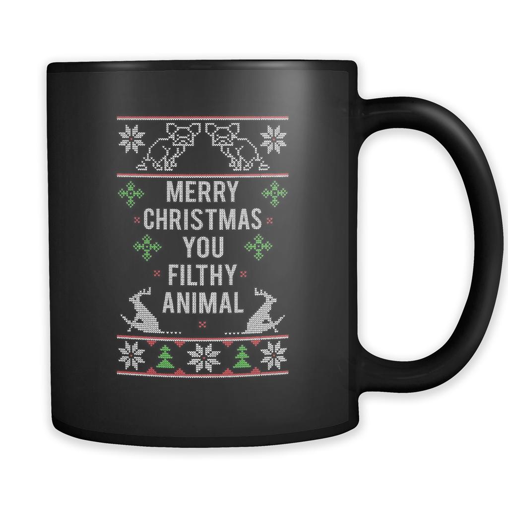 merry christmas you filthy animal ugly christmas sweater black 11oz coffee mug