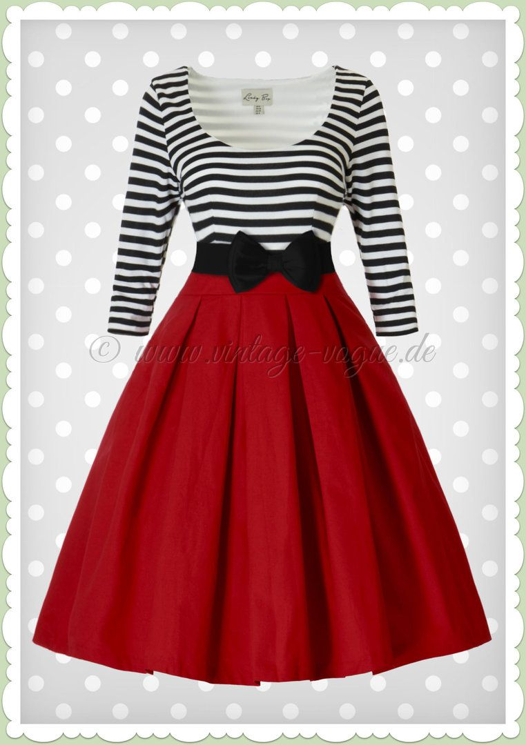 ea0b36ac5f1 Lindy Bop 50er Jahre Retro Vintage Streifen Kleid - Jocelina - Schwarz Rot  in 2019