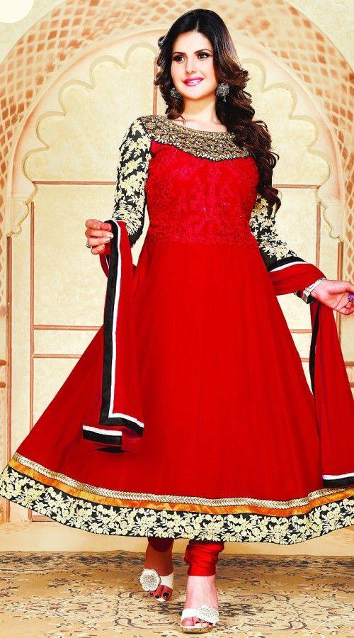7bcc2021b2 Zarine Khan In Red Salwar Kameez YS701042 | Zarine Khan Salwar ...