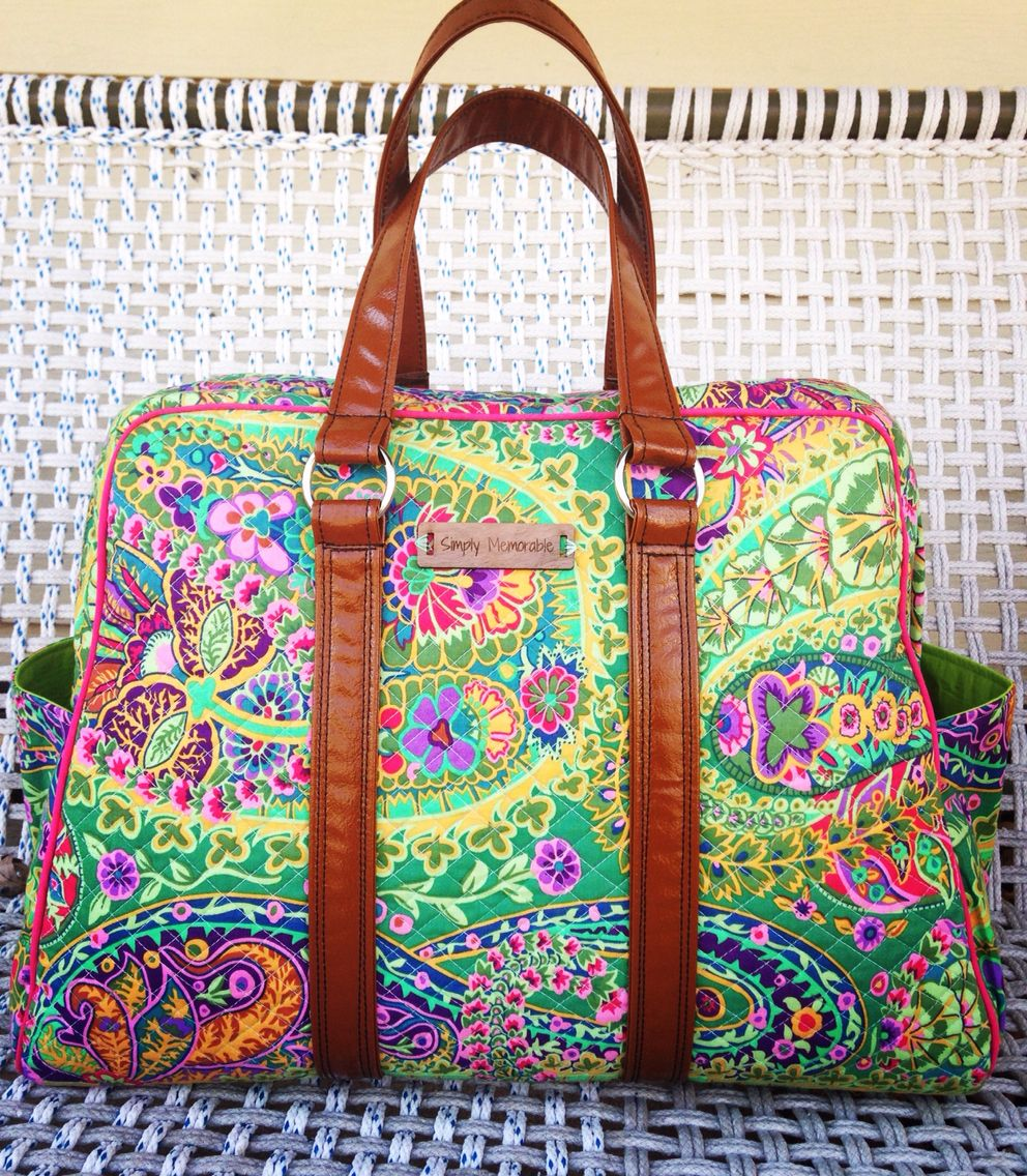 8f26882b5d0a Quilted Vivian Traveler (swoon sewing patterns) made out of Kaffe Fassett s  Paisley Jungle fabric paired with shiny brown vinyl. Handmade.