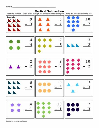 Free Math Worksheets Subtraction Differences 0 10 Vertical