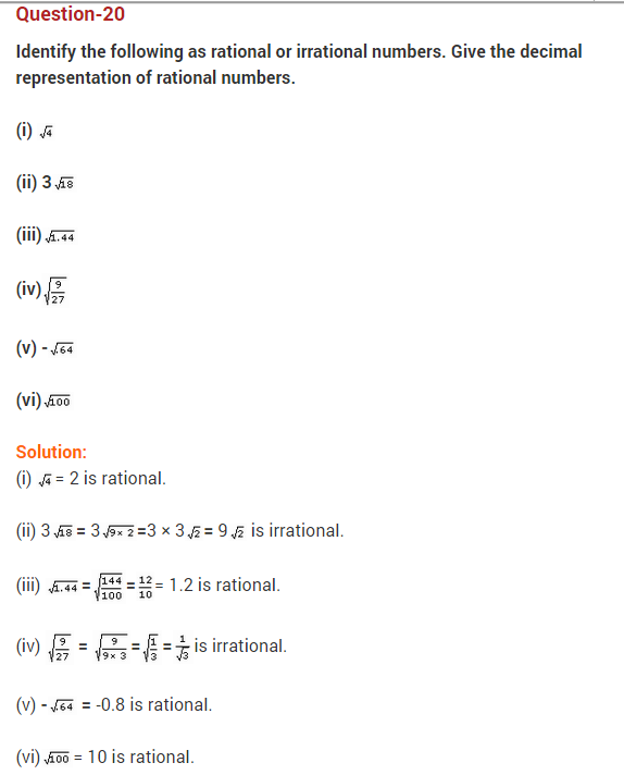 Number System Ncert Extra Questions For Class 9 Maths This Or That Questions Irrational Numbers Number System