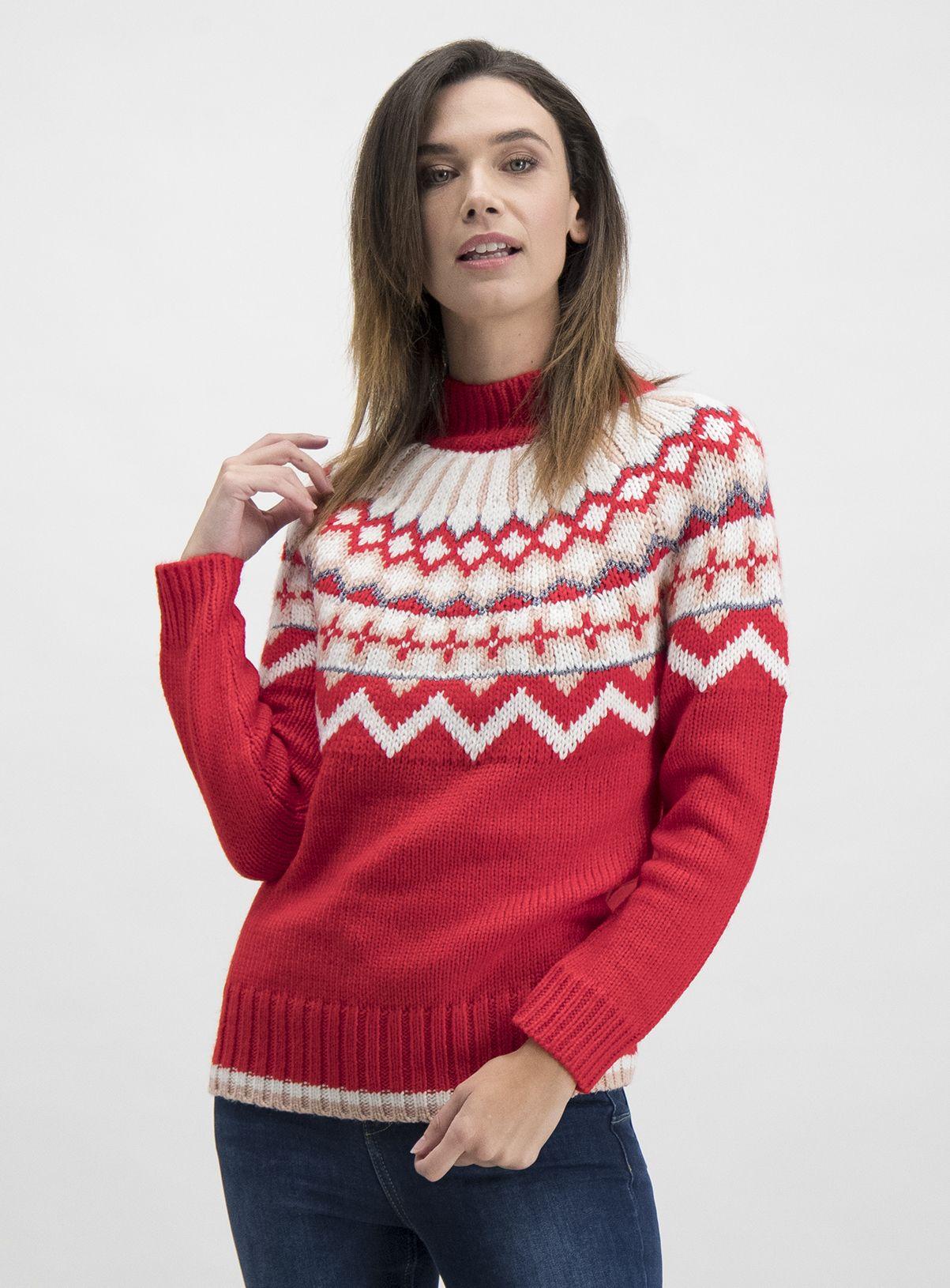 SKU XM CHUNKY FAIRISLE YOKE JUMPER AW19Red Knit jumper