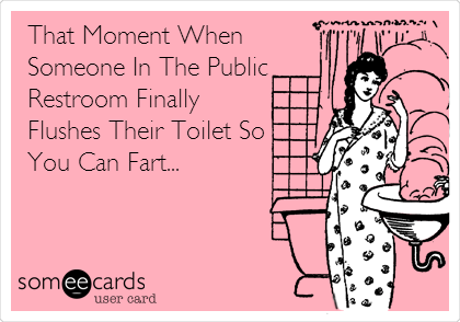 That Moment When Someone In The Public Restroom Finally Flushes Their Toilet So You Can Fart...