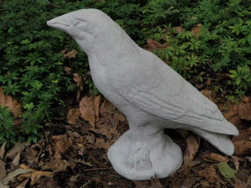 11-Tall-Cement-Crow-Raven-Bird-Concrete-Garden-Art-Yard-Statue