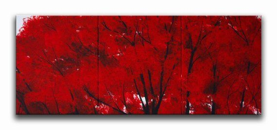 Red Oak Contemporary Modern Art Red Oak Tree Semi by drobart