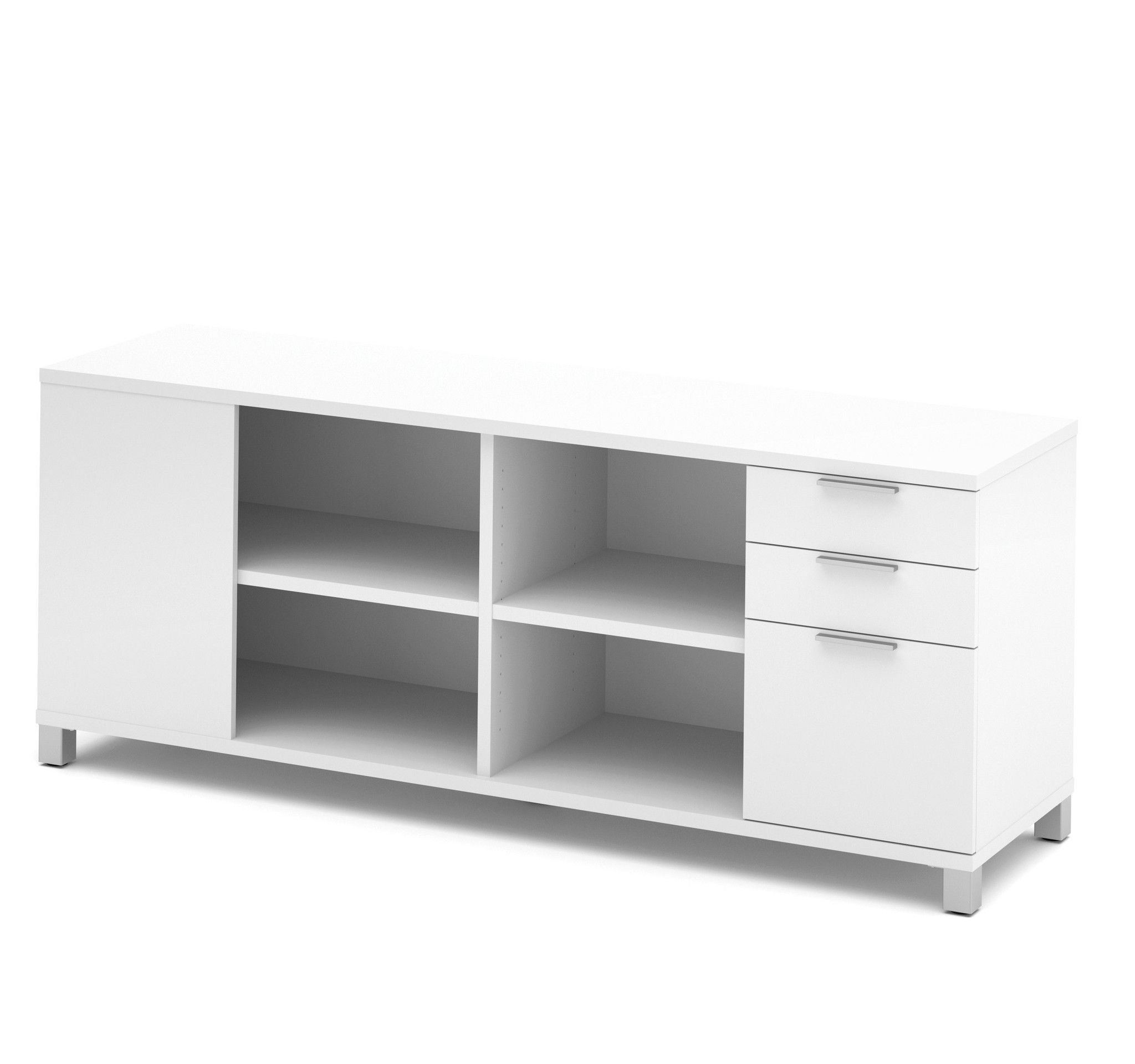 modern white credenza with full pedestal  shelving  white  - modern white credenza with full pedestal  shelving