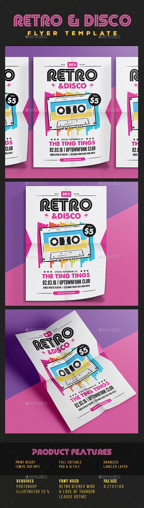 Retro Disco Flyer  Flyer Template Concert Flyer And Template