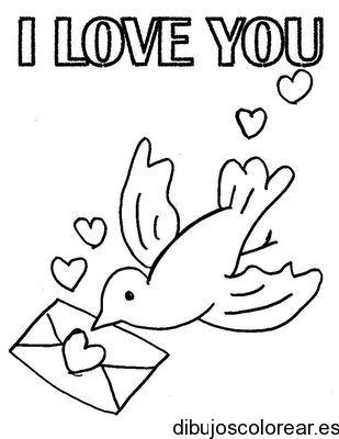 Dibujo De Una Paloma Mensajera Con Carta De Amor Paginas Para Colorear Palomas Mensajeras Paginas Para Colorear Para Ninos