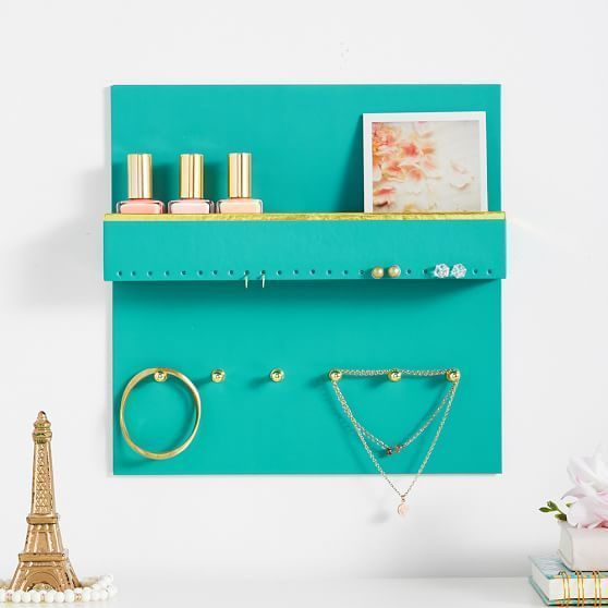 Pottery Barn Teen Paper Wall Jewelry Organizer Aqua with Gold Trim