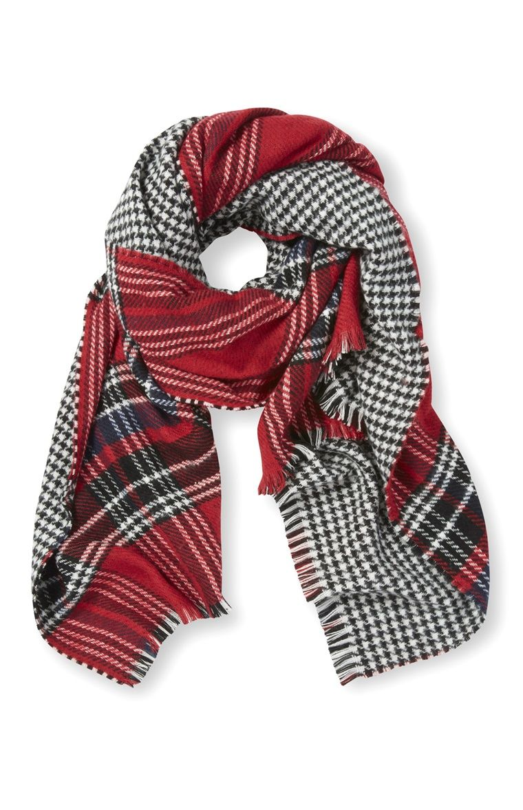 Primark - Red Check And Dogtooth Reversible Scarf | Plaid and ...