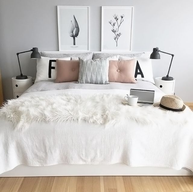 A Lovely Grey White And Pink Bedroom By Photosbyir Minimalist Bedroom Small I Bedroom Design Trends Minimalist Bedroom Design Scandinavian Design Bedroom