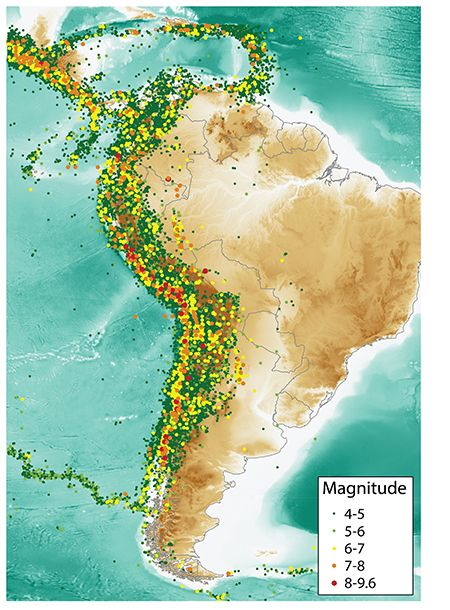 South america has a long history of seismic activity featuring some south america has a long history of seismic activity featuring some of the strongest earthquakes on the planet the map shows all earthquakes of magnitude gumiabroncs Images