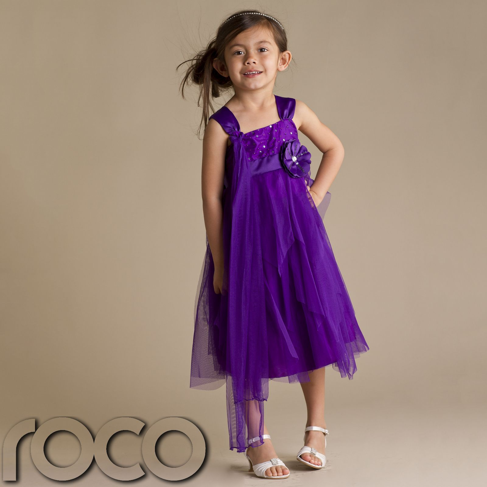 Girls Party Dress Purple Flower Girl Dresses Prom Dress Bridesmaid ...