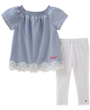d191050a57aa09 Tommy Hilfiger 2-Pc. Lace-Trim Top & Leggings Set, Little Girls - Blue 6X