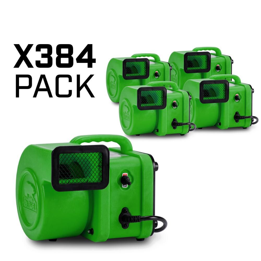 B Air 1 4 Hp 375 Cfm Mini Air Mover For Water Damage Restoration Carpet Dryer Floor Blower Fan Green 384 Pack Restoration Home Depot Water Damage