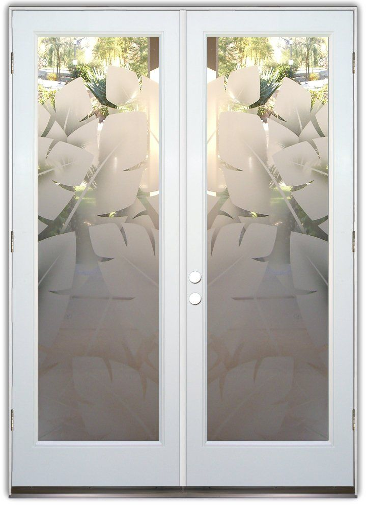 Banana leaves 2d double entry doors hand crafted - Double interior doors with glass ...