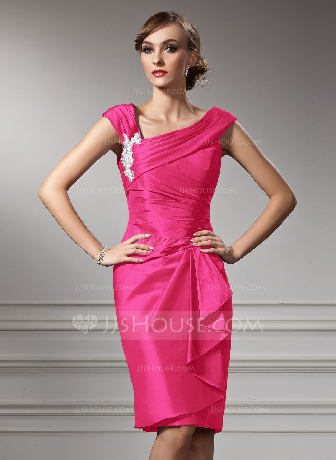 Sheath/Column Off-the-Shoulder Knee-Length Taffeta Mother of the ...