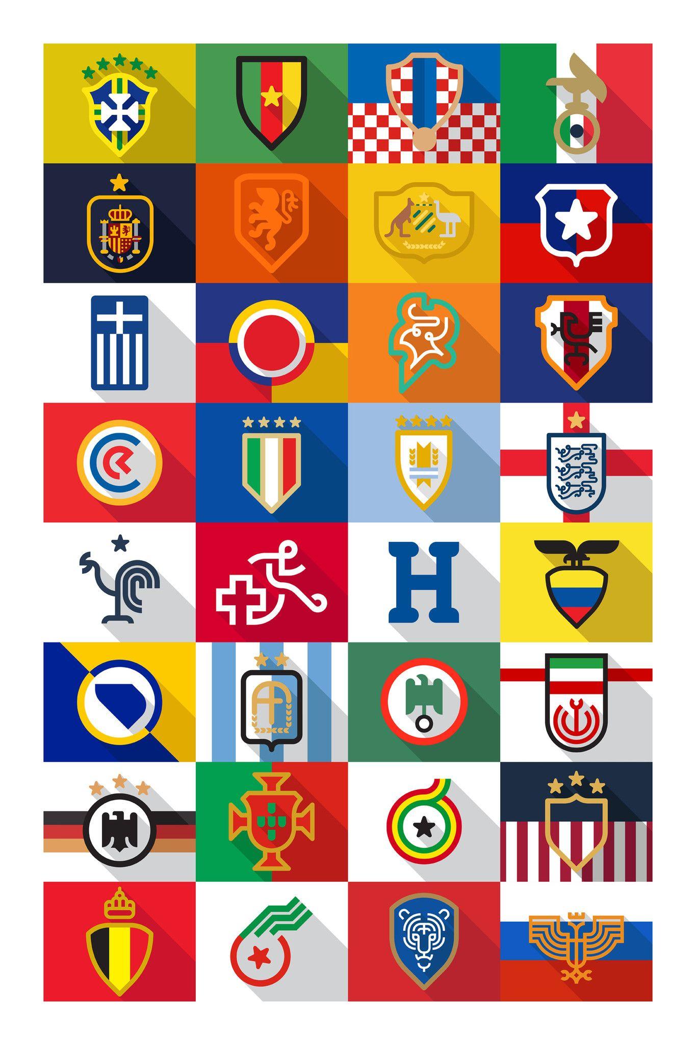 World Cup 32 Team Minimalist Logos Futebol