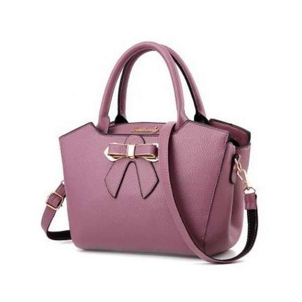 Metal Bow Textured Leather Tote Bag ($42) ❤ liked on Polyvore featuring bags, handbags, tote bags, tote bag purse, purple handbags, purple tote, tote handbags and bow purse